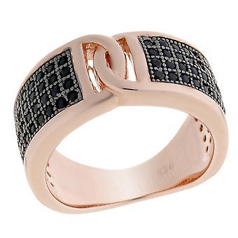 Orphelia Silver 925 Ring Rose With Black  Zirconium   ZR-6045