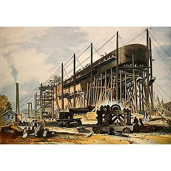 The Great Eastern on the Stocks (colour.. - Art Canvas