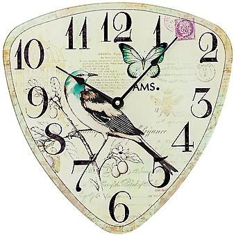 AMS 9480 wall clock quartz analog vintage antique retro with bird and Butterfly
