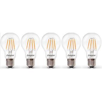 5 X Energizer LED Filament GLS Light Bulb Lamp Vintage ES E27 duidelijk 4.5W = 40W E27 ES Cap [energieklasse A +]
