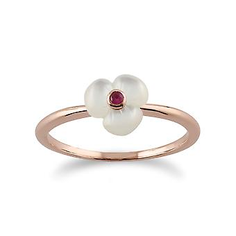 Gemondo Rose Plated Sterling Silver Floral Mother of Pearl & Ruby Ring