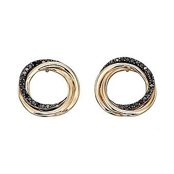 Elements Gold Diamond Open Circle Earrings - Black/Gold