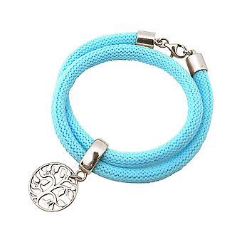 Gemshine Damen Armband Wickelarmband 925 Silber Lebensbaum Blau