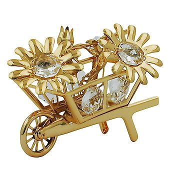 Wheelbarrow with flowers gold plated crystal flower wheelbarrow glass stones