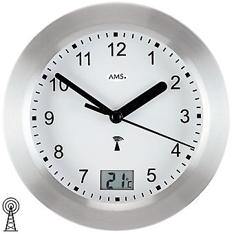 Bathroom clock wall clock aluminium front Frost silver waterproof bathroom clock