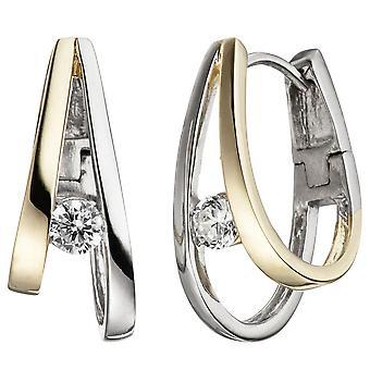 Hoop earrings 925 sterling silver bicolor gold plated 2 cubic zirconia earrings