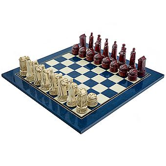 The Berkeley Chess Scottish Cardinal Blue Chess Set