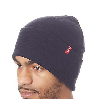 Levis Navy Blue Slouchy Red Tab Beanie