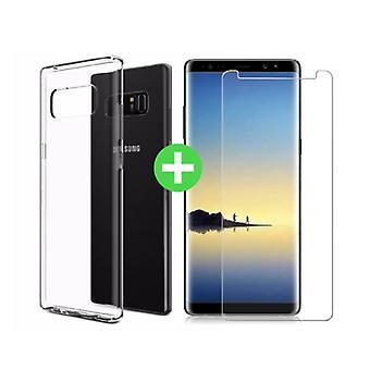 Stuff Certified ® Samsung Galaxy Note 8 Transparent TPU Case + Screen Protector Tempered Glass