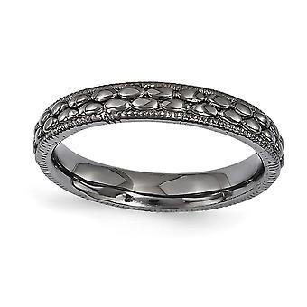3,5 mm Sterling Silber poliert Ruthenium-Beschichtung stapelbar Ausdrücke Ruthenium überzogen gemustert Ring - Ring-Größe: 5 bis