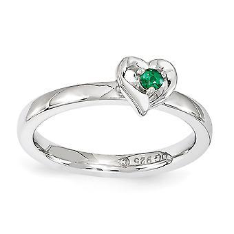 2,25 mm Sterling Silver polerat stift uppsättning rodium-plated stapelbar uttryck skapat Emerald hjärta Ring - Ring storlek: 5