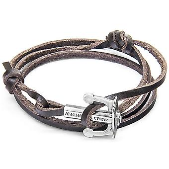 Anchor and Crew Union Silver and Leather Bracelet - Dark Brown