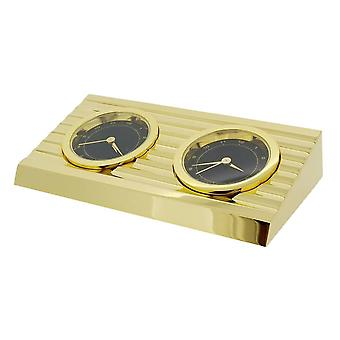 Gift Time Products 2 Time Zone Desk Clock - Gold/Black