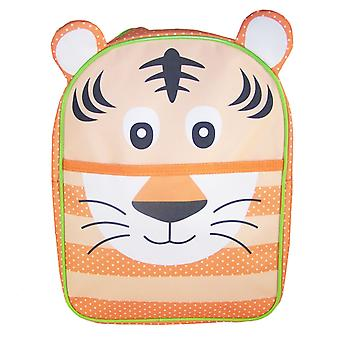 Childs orange and green tiger canvas backpack