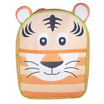 Childs oranje en groen tijger canvas rugzak