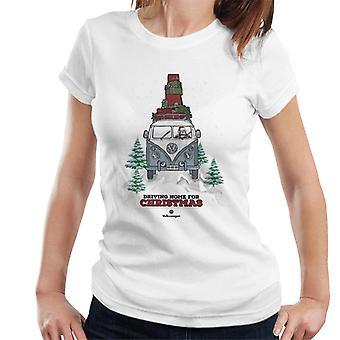 Official Volkswagen Christmas Camper Black Text Women's T-Shirt
