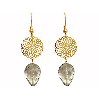 GEMSHINE ladies earrings with Mandalas and smoke crystals of high quality. Made in Madrid, Spain. In the elegant gift box.