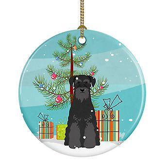 Merry Christmas Tree Standard Schnauzer Black Ceramic Ornament