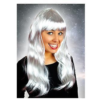Pelucas peluca larga con la plata de fringe
