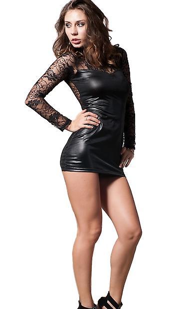 Waooh 69 - Mini Robe Clubwear Noir Avec Dentelle Missa