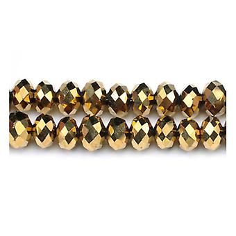 ستراند 70 + الزجاج الذهبي والكريستال التشيكي 6 × 8 مم رونديلي الوجوه الخرز GC3534-3