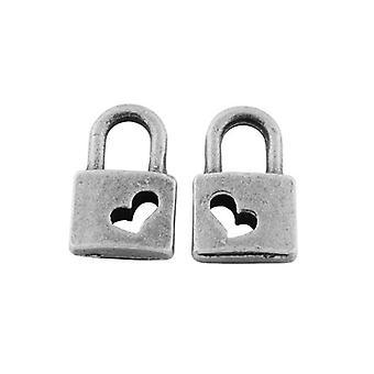 Paket 20 x antik Silver tibetanska 11mm Lock Charm/hänge ZX11610