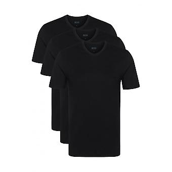 Boss 3-Pack Regular-Fit v-neck T-Shirt, schwarz