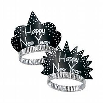 Happy New Year Sparkling Glittered Tiara - Black & Silver (25)
