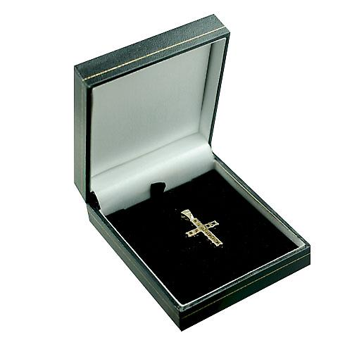 9ct Gold 24x17mm Garnet set Cross