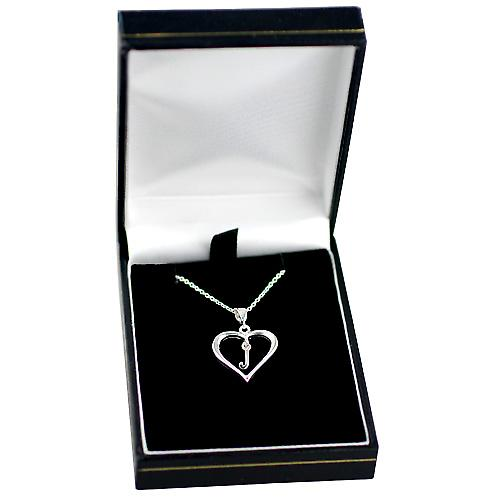Silver 18x18mm initial J in a heart Pendant with a rolo Chain 14 inches Only Suitable for Children