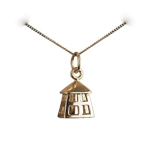 9ct Gold 11x9mm Watchman's Lantern Pendant with a curb Chain 16 inches Only Suitable for Children