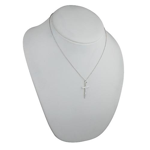 Silver 30x17mm hand engraved solid block Cross with a rolo Chain 18 inches