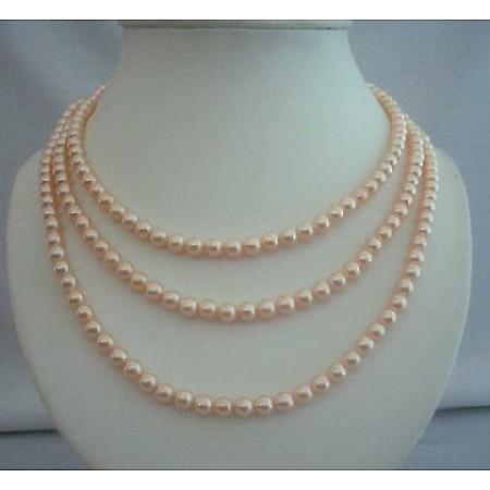 3 Stranded Swarovski Peach Pearls Bridal Mother of Bride Jewelry