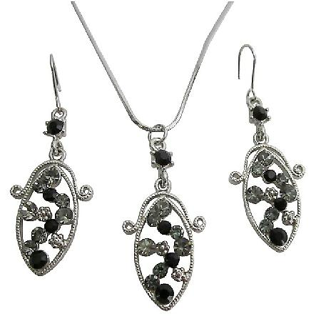 Discount On Bridal Wedding & Bridesmaid Black Silver Jewelry Set