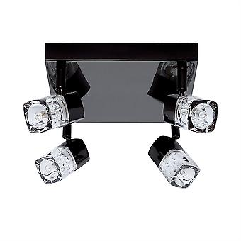 Blocken svart krom och glas fyra ljus Spotlight på tallrik - strålkastare 7884BC-LED