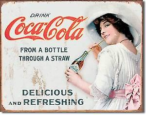 Coca Cola From Bottle Through Straw metal sign