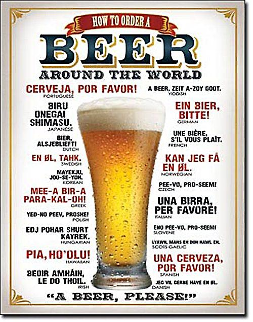 How To Order A Beer Around The World metal sign  (de)