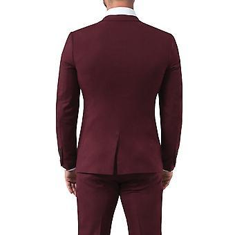 Dostępność London Mens Burgundy kurtka garniturowa Slim fit Notch klapka