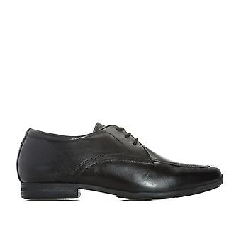 Junior Boys Hush Puppies Jake Shoes In Black- Lace Fastening- Interchangeable In