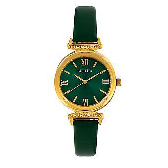Bertha Jasmine Leather-Band Watch - Green