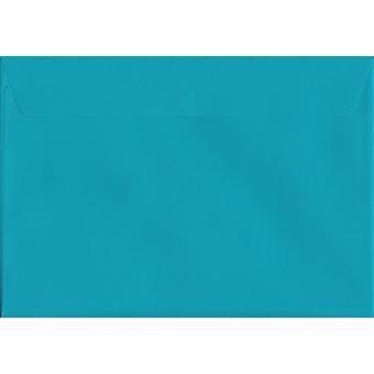 Caribbean Blue Peel/tätning C4/A4 färgad blå kuvert. 120gsm Luxury FSC-certifierat papper. 229 mm x 324 mm. plånbok stil kuvert.