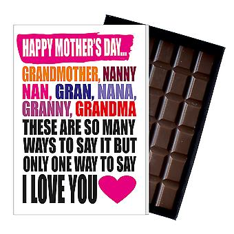 Funny Mother's Day Gift Chocolate Card Present for Grandmother Gran Grandma Nan MIYF101