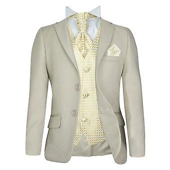 5 PC niños Formal corbata Beige y elección del traje de chaleco
