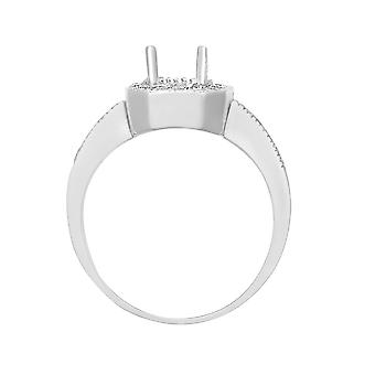Jewelco London Solid 18ct White Gold Pave Set Round G SI1 0.43ct Diamond Semi Set Mount Engagement Ring 14mm