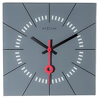 NeXtime - Wall clock - 35 x 35 cm - Glass - Grey - 'Stazione'