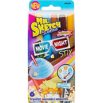 Mr.Sketch Scented Washable Marker Set 6/Pkg-Stix Movie Night 1924301