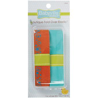 Babyville Boutique Fold Over Elastic Orange with Circles & Solid Turquoise 3.50E 40