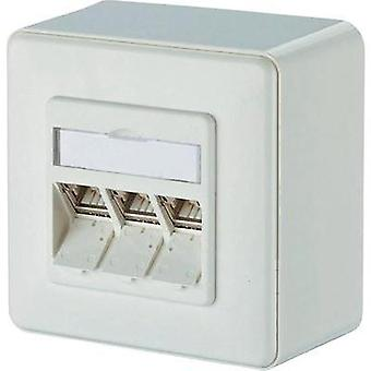Network outlet Surface-mount CAT 6A 3 ports Metz Connect Pure white