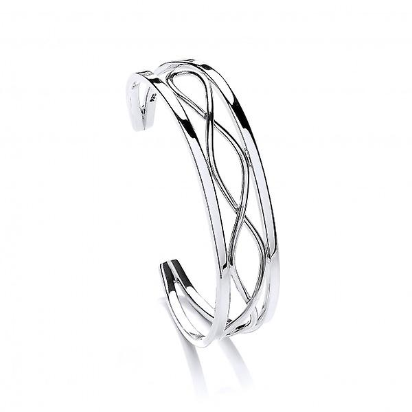Cavendish French Sterling Silver Framed Plait Cuff Bangle