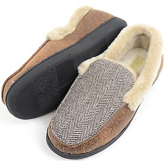 Mens Herringbone Design Moccasin Style Slippers with Warm Faux Fur Lining and Cuff - Small (UK7 / UK8)